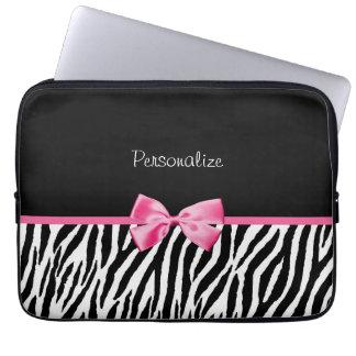 Ruban noir et blanc à la mode de rose d'impression housses ordinateur
