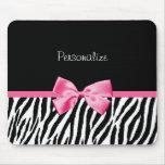 Ruban noir et blanc à la mode de rose d'impression tapis de souris