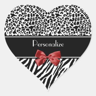 Ruban noir et blanc à la mode de rouge de zèbre de sticker cœur