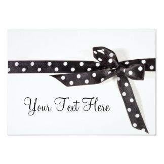 Ruban noir et blanc carton d'invitation  12,7 cm x 17,78 cm