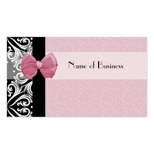 Ruban parisien élégant de rose de damassé modèles de cartes de visite