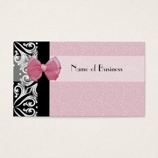 Ruban parisien élégant de rose de damassé cartes de visite