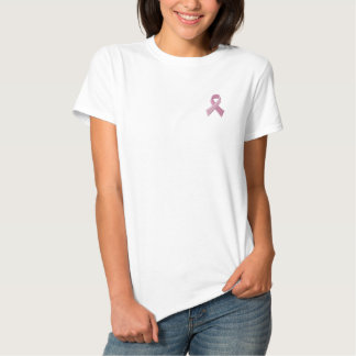 Ruban rose - conscience de cancer du sein t-shirt brodé