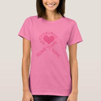Ruban rose douille de cancer du sein de mots de t-shirt