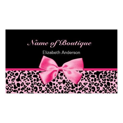 Ruban rose et noir de boutique à la mode de léopar