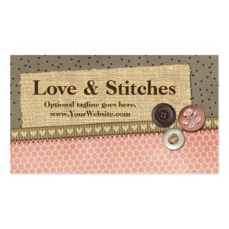 Ruban, toile de jute, boutons - amour et points carte de visite standard