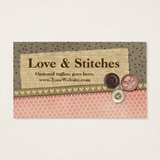 Ruban, toile de jute, boutons - amour et points cartes de visite