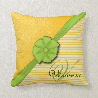 Ruban vert, tissu ensoleillé de deux rayures oreillers