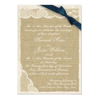 Ruban vintage de bleu marine de dentelle et de carton d'invitation  12,7 cm x 17,78 cm