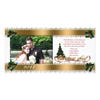 Rubans de houx et d'or de carte photo de Noël Carte Avec Photo