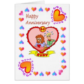 Rubis de carte quarantième d'anniversaire