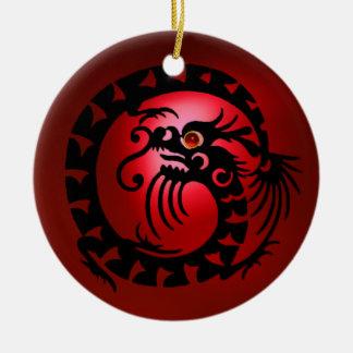 Rubis noir et rouge de DRAGON de SERPENT Ornement Rond En Céramique