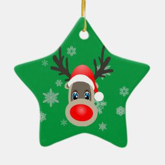 Rudolf - renne de Noël Ornement Étoile En Céramique
