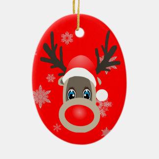 Rudolf - renne de Noël Ornement Ovale En Céramique