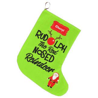 Rudolph le renne flairé rouge personnalisé grande chaussette de noël