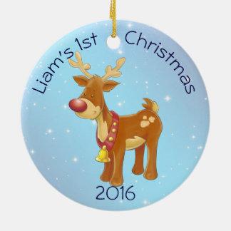Rudolph mignon pour ęr Noël du bébé Ornement Rond En Céramique