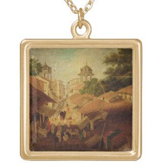 Rue à Patna, c.1825 (huile sur la toile) Collier Plaqué Or