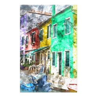 Rue colorée dans Burano près de Venise Italie Papier À Lettre Customisable