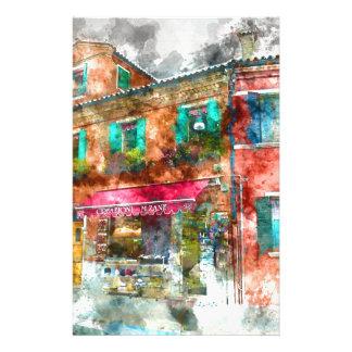 Rue dans Burano Italie près de Venise Papier À Lettre Personnalisable