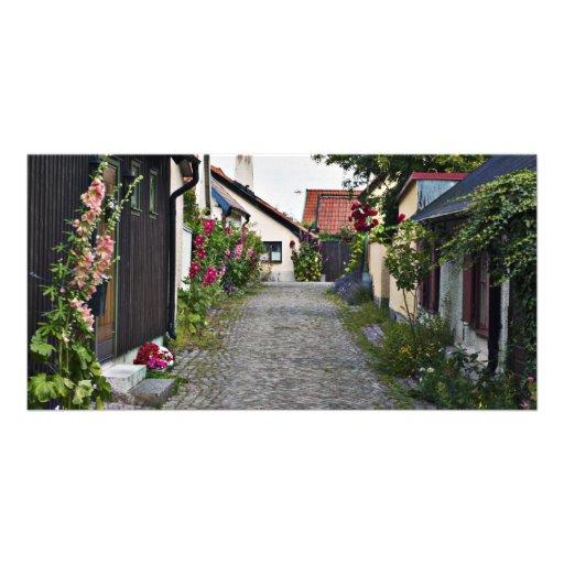 Rue dans vieux Visby Suède Cartes Avec Photo
