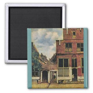 Rue de Johannes Vermeer à Delft (circa 1660) Magnet Carré