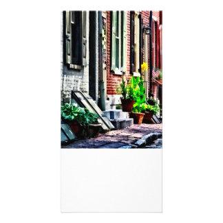 Rue de PA de Philadelphie avec des pots de fleur Photocartes Personnalisées