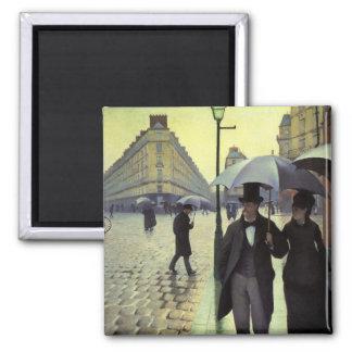 Rue de Paris, jour pluvieux par Gustave Magnets Pour Réfrigérateur