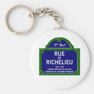 Rue de Richelieu, plaque de rue de Paris Porte-clé Rond