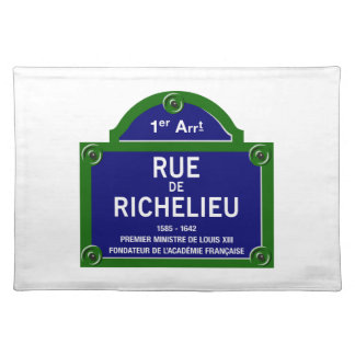 Rue de Richelieu, plaque de rue de Paris Set De Table