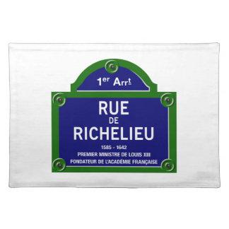 Rue de Richelieu, plaque de rue de Paris Sets De Table