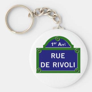 Rue de Rivoli, plaque de rue de Paris Porte-clé Rond