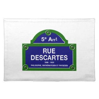 Rue Descartes, plaque de rue de Paris Set De Table