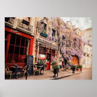 Rue et restaurant romantiques à Paris, France Posters