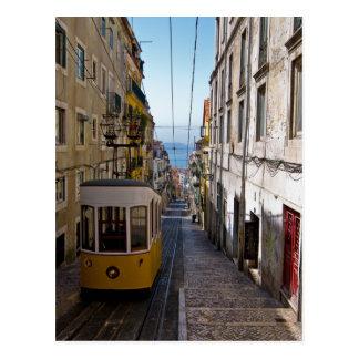 Rue et tramway de Lisbonne l'alto de Bairro Carte Postale