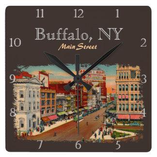 Rue principale - Buffalo, coutume de NY Horloge Carrée