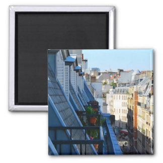 Rues de Paris France à partir d'un dessus de toit Magnet Carré