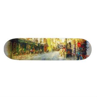 Rues de vieille aquarelle de Prague Mini Skateboard 18,4 Cm