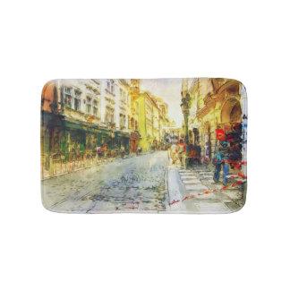 Rues de vieille aquarelle de Prague Tapis De Bain