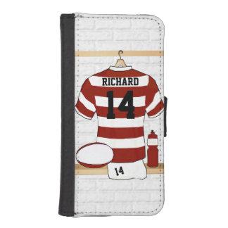 Rugby personnalisé Jersey de Hooped dans le Coque Avec Portefeuille Pour iPhone 5