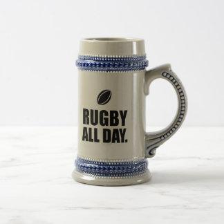 Rugby toute la journée chope à bière