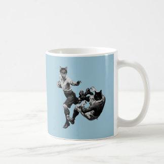 rugby vintage drôle jouant des chats tasse à café