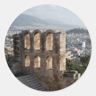 Ruines antiques d'Acropole donnant sur Athènes Sticker Rond