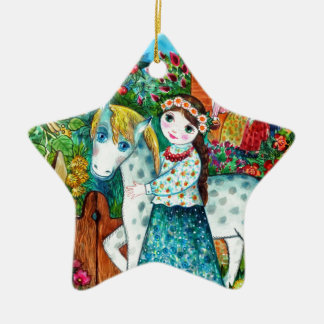 Russian summer ornement étoile en céramique