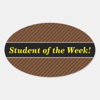 Rustique-Comme Brown foncé et rayures plus brun Sticker Ovale