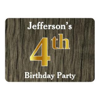 Rustique, fête d'anniversaire d'or de Faux 4ème ; Carton D'invitation 12,7 Cm X 17,78 Cm