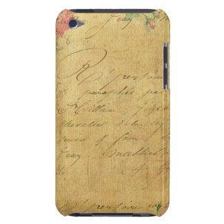 rustique, Parchement, porté, floral, lettres, cru, Coque iPod Touch Case-Mate