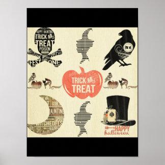 rustique, vintage, Halloween, motif, déplaisant, Poster