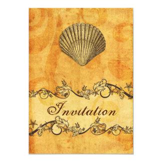 rustique, vintage, invitations de mariage de plage