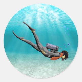 S.C.U.B.A. Plongeur Sticker Rond
