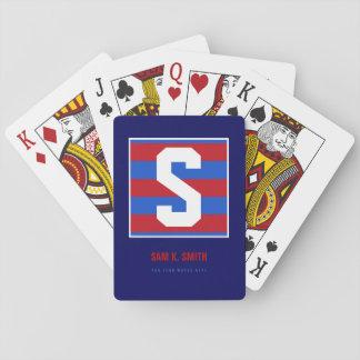 s custom_initial, nom + texte, monogramme rayé jeux de cartes